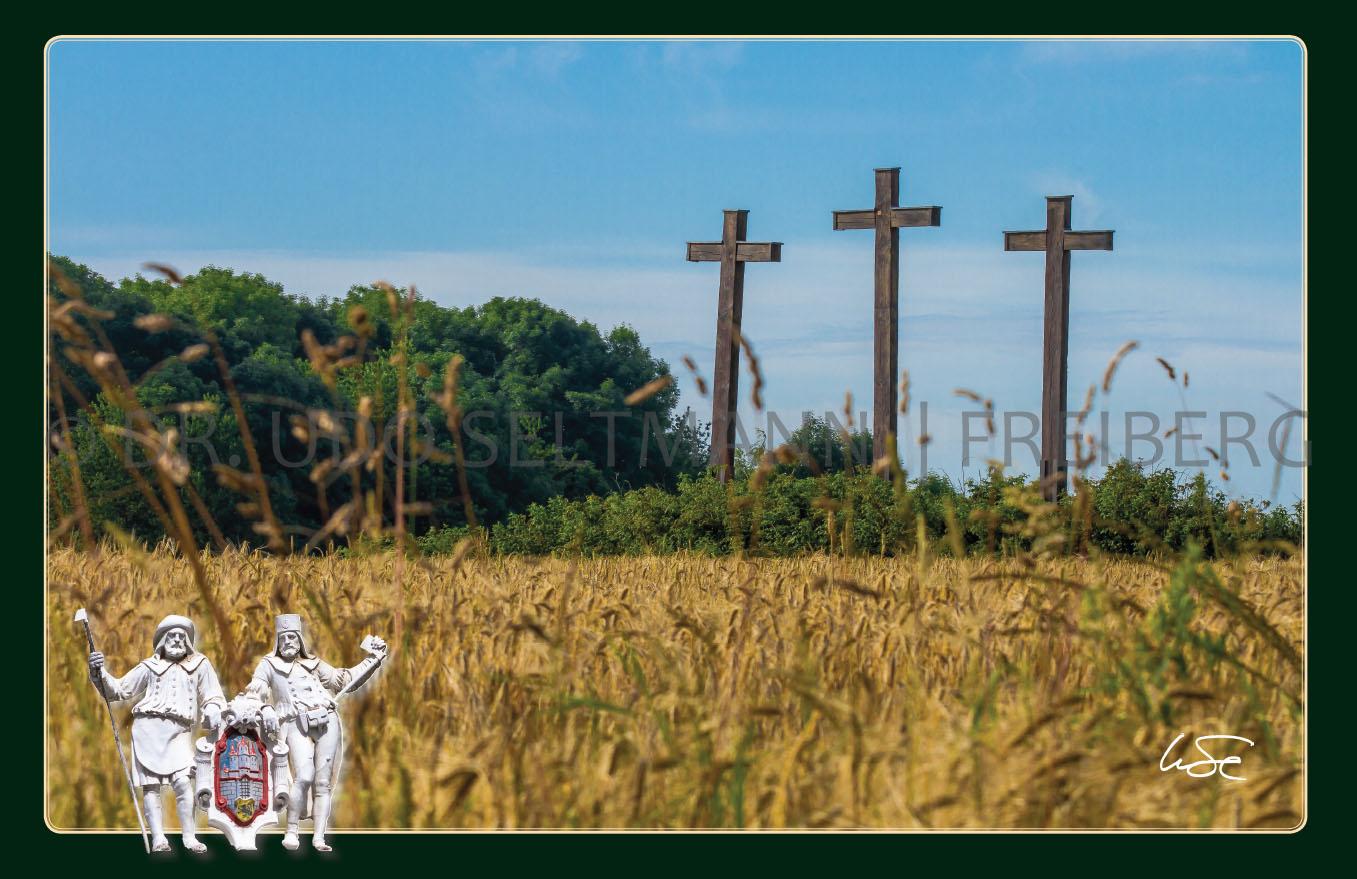 GK 906 Die hölzernen drei Kreuze bei Freiberg (mit WissenEule)